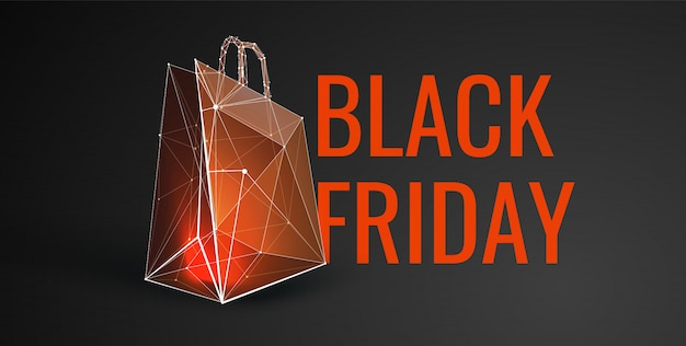 Black friday sale banner with low poly style