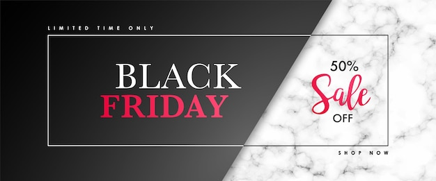 Black friday sale banner with marble texture and text.
