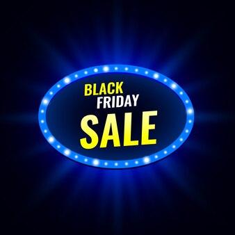 ネオンの明かりで黒い金曜日販売バナー。