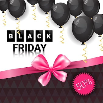 Black friday sale banner with pink ribbon and air balloons