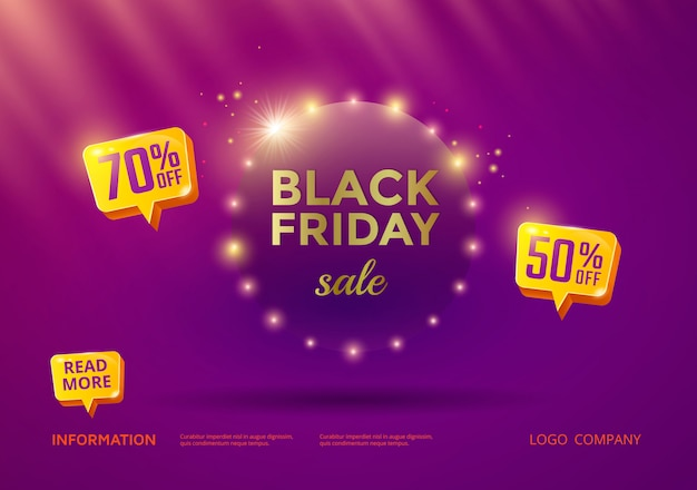 Black friday sale banner with purple background and gold text.