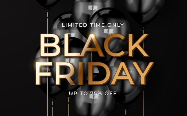 Black friday sale banner with realistic balloons and confetti
