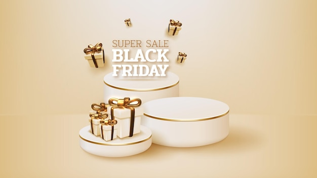Black friday sale banner with realistic podium and gifts box with ribbon gold luxury. 3d vector illustration.