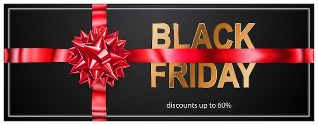 Black friday sale banner with red bow and ribbons on dark background. vector illustration for posters, flyers or cards.
