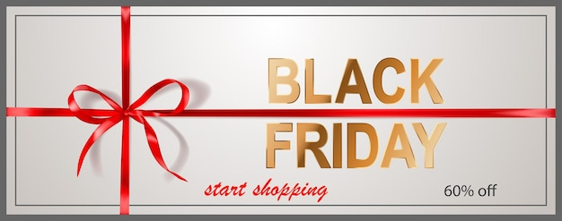 Black friday sale banner with red bow and ribbons on white background. vector illustration for posters, flyers or cards.