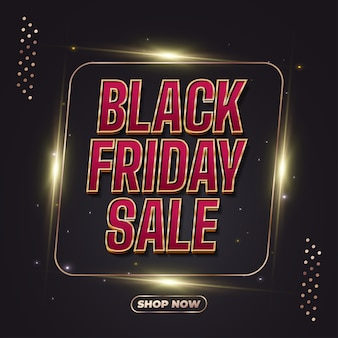 Black friday sale banner with red and gold text and glowing frame