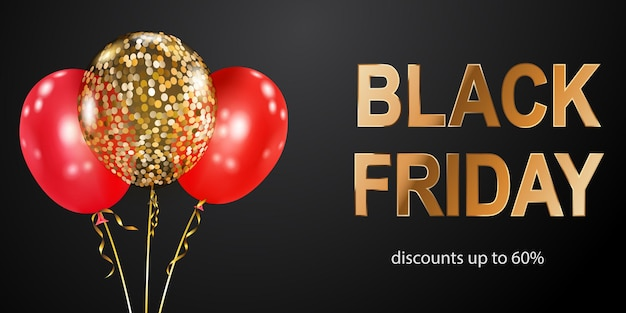 Black friday sale banner with red and golden balloons on dark background. vector illustration for posters, flyers or cards.