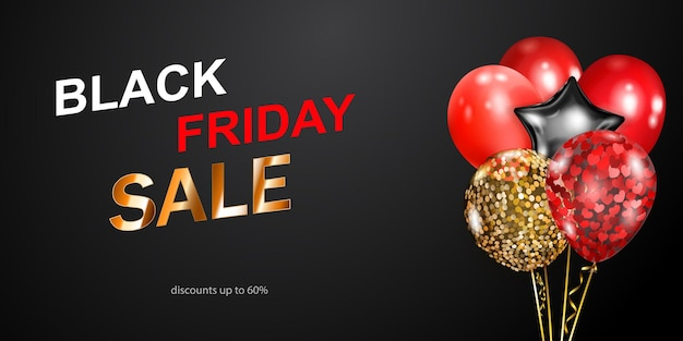 Black friday sale banner with red, golden and silver balloons on dark background. vector illustration for posters, flyers or cards.
