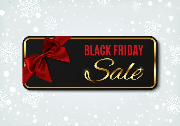 Black friday sale banner with red ribbon and bow