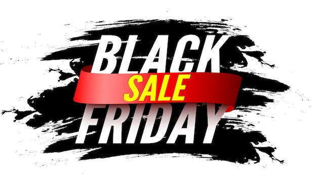 Black friday sale banner with red ribbon and brush strokes