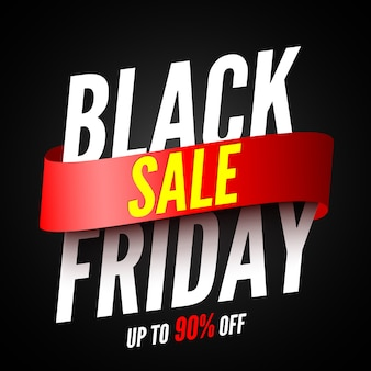 Black friday sale banner with red ribbon.  illustration.
