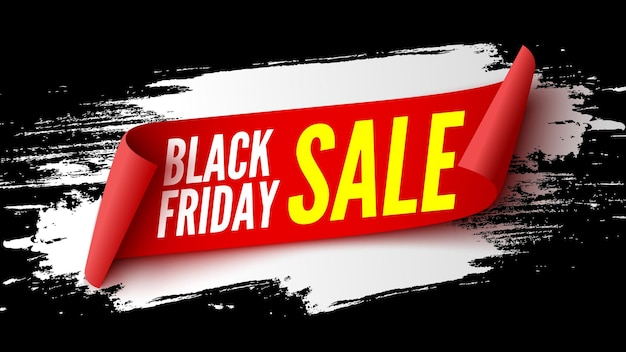 Black friday sale banner with red ribbon and white brush strokes. vector illustration.
