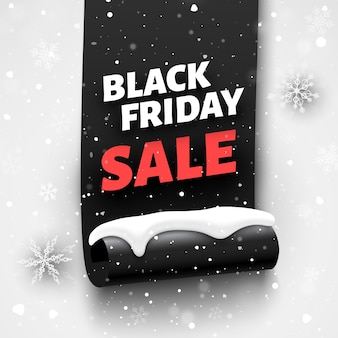 Black friday sale banner with ribbon, snow cap and snowflakes.