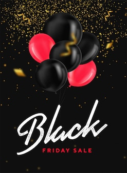 Black friday sale banner with shiny balloons, confetti and gold glitter on dark background