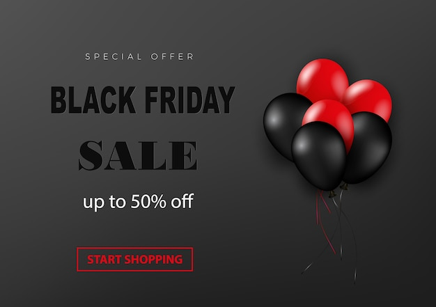 Черная пятница продажа баннер с блестящими воздушными шарами на темном фоне с рельефным текстом.