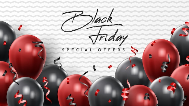 Black friday sale banner with shiny balloons.