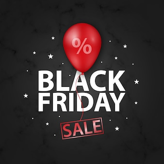 Black friday sale banner with shiny red balloon.