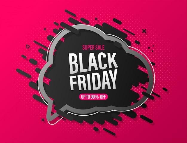 Black friday sale banner with speech bubble