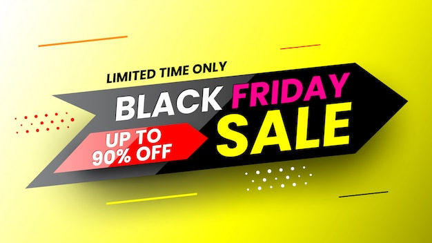 Black friday sale banner with stripes and dots