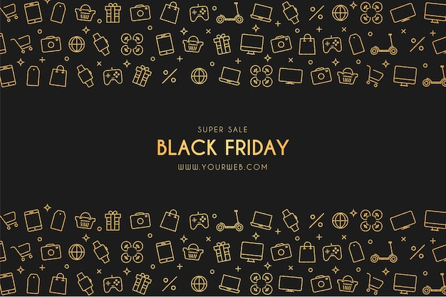 Banner di vendita del black friday con icone di tecnologia