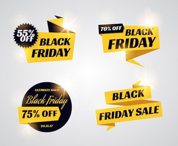 검은 금요일 판매 배너입니다. 할인 리본 및 레이블 프로 모션 텍스트의 집합입니다. 검은색과 노란색 벡터 템플릿입니다.