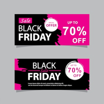Black friday sale banners set with grunge