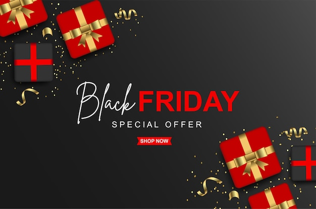 Black friday sale banners template with gift box
