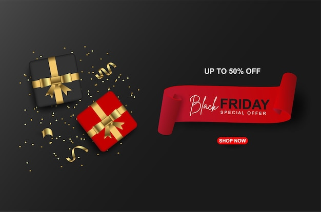 Black friday sale banners template with realistic gift box