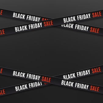 Black friday sale banners. warning tapes, ribbons on black background. template for brochure, poster or flyer.  illustration.