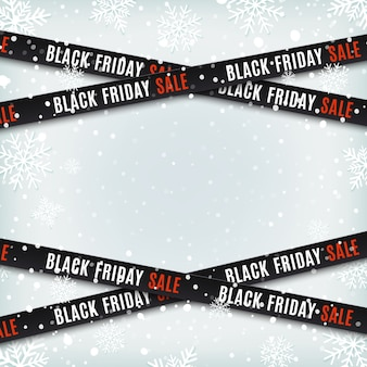 Black friday sale banners. warning tapes, ribbons on winter background with snow and snowflakes. template for brochure, poster or flyer.  illustration.