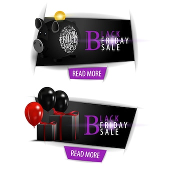 Black friday sale. banners with black piggy bank and gifts