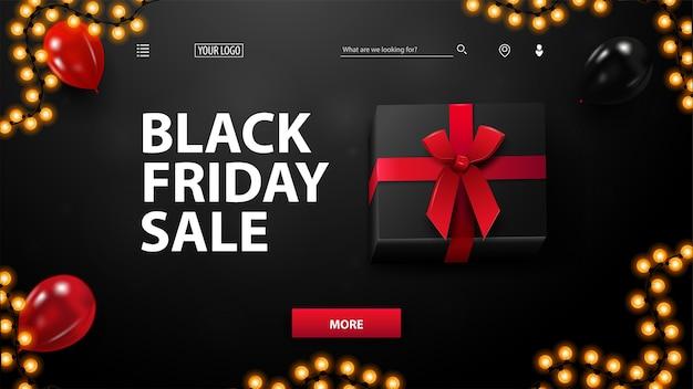 ブラックフライデーセール、赤と黒の風船と大きな黒いプレゼントボックス、トップビューで黒い割引バナー。ウェブサイトの割引バナー