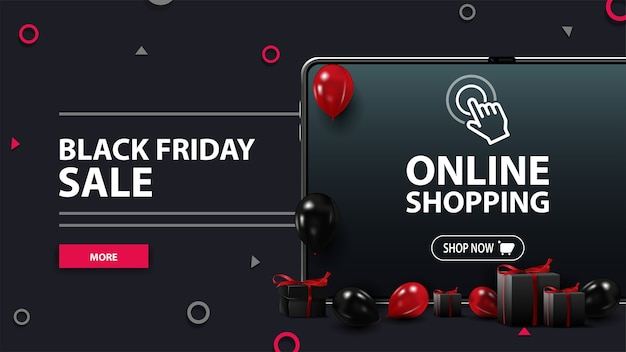 Black friday sale, black discount banner with tablet, red and black balloons, presents and button. black friday online shopping