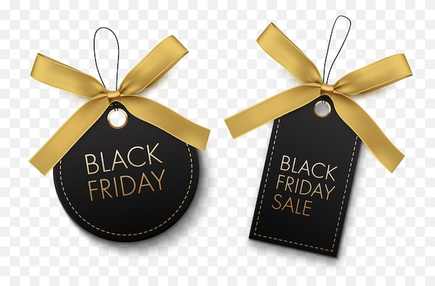 Black friday sale black labels with gold bow isolated on white background vector tags