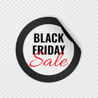 Black friday sale black round sticker with curled corners