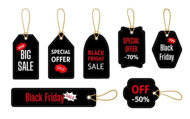 검은 금요일 판매 검은 태그 템플릿 집합입니다. 큰 판매, 특별 제공.