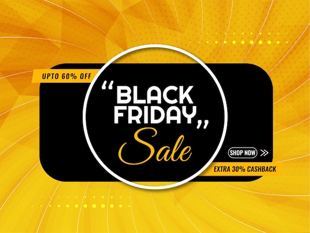 Black friday sale bright yellow background