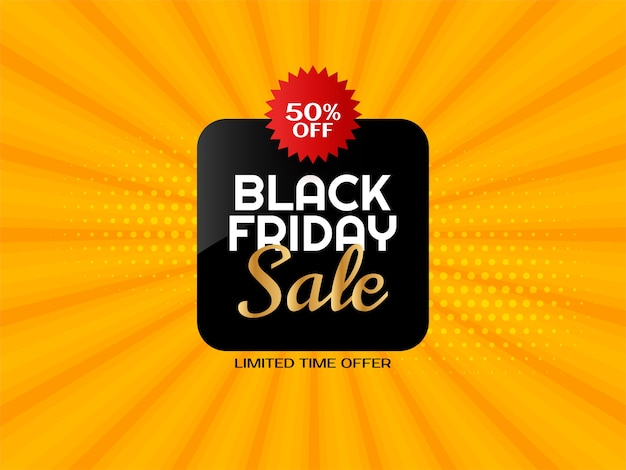 Black friday sale bright yellow rays background