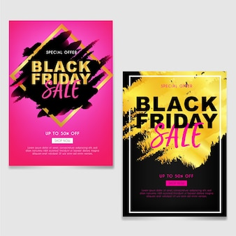 Black friday sale brochure or flyer with abstract brush gold