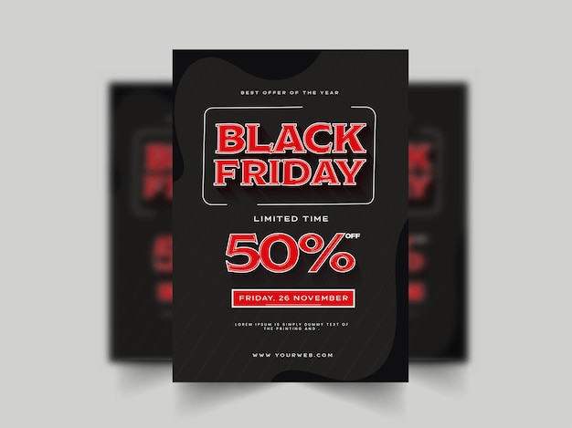 Black friday sale brochure template design with 50% discount offer for advertising.