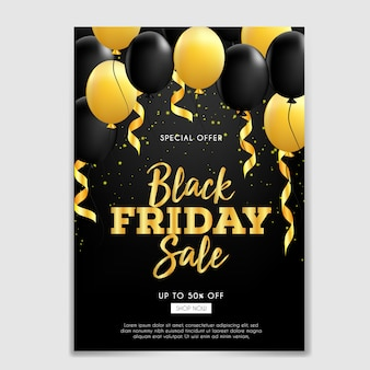Black friday sale brochure with ribbon and balloons gold