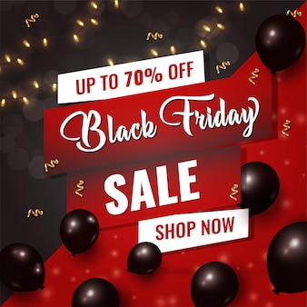 Black friday sale card with shiny black balloons on black and red background