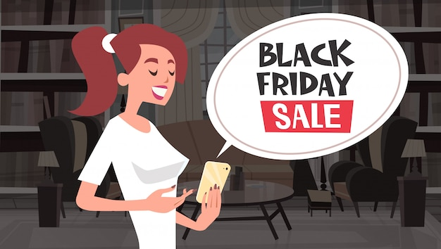 Black friday sale chat bubble message from girl using cell smart phone
