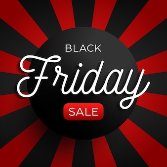 Black friday sale circle banner on red and black background.  illustration
