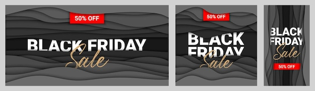 Black friday sale collection of paper cut with words for advertising banner site decoration