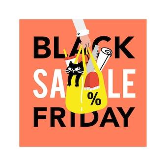 Черная пятница продажи концепции баннера каракули иллюстрации Premium векторы