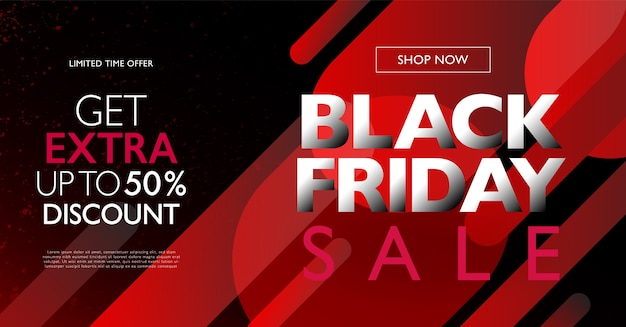 Black friday sale concept banner template with red gradient round shape  elements on black background