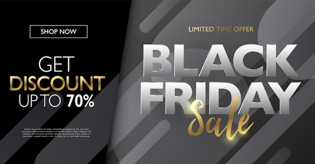 Black friday sale concept banner with gold letters on gradient round shape  element background