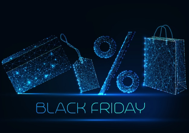 Black friday sale concept with glowing low poly shopping bag, price tag, percentage and credit card