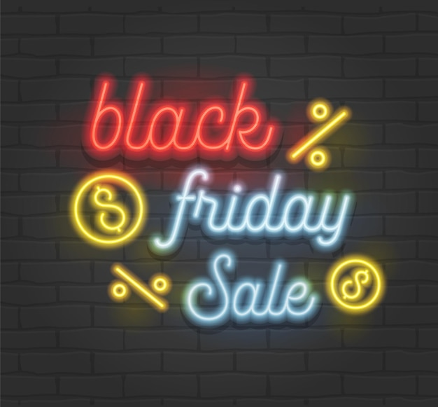 Black friday sale creative banner with highly detailed realistic neon glowing typography on black brick wall